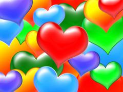 colour hearts - stock illustration