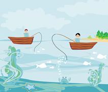 Kalastajat ja kalastusvene Piirros