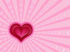 red and pink hearts - stock illustration