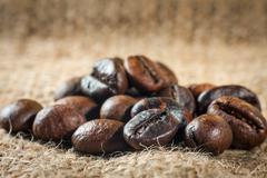 coffee on grunge burlap background - stock photo