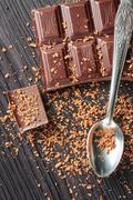 Closeup of dark chocolate Stock Photos