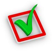 check box and green check mark - stock illustration