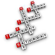 weekdays crossword - stock illustration