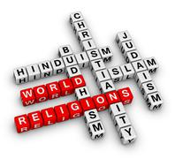 major world religions - stock illustration