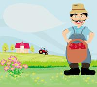 farmer with a basket of apples - stock illustration