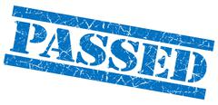 Passed grunge blue stamp Stock Illustration