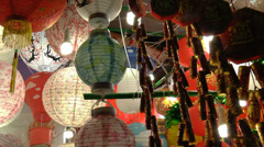 Stock Video Footage of colorful lanterns for sale during Chinese new year (CNY LANTERN--1)