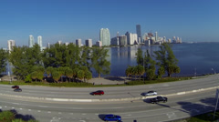 Downtown Miami from Rickenbacker Causeway Stock Footage