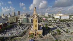 Freedom Tower aerial shot, Downtown Miami, Florida Stock Footage