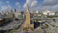 Stock Video Footage of Freedom Tower aerial shot, Downtown Miami, Florida