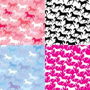 Set of seamless patterns with wild horses Stock Illustration