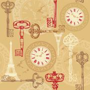vintage seamless pattern with clock, keys and eiffel tower - stock illustration