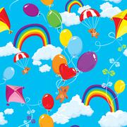 seamless pattern with rainbows, clouds, colorful balloons, kite, parachute an - stock illustration