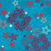 Seamless background with coral reef and sea stars Stock Illustration