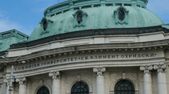 Detail of Sofia University in Bulgaria Stock Footage