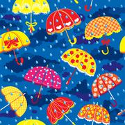 seamless pattern with colorful umbrellas, clouds and rain drops on blue sky b - stock illustration