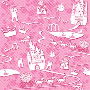 Seamless pattern with fairytale land - castles, lakes, roads, mills,carriages Stock Illustration