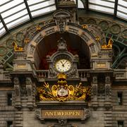 Clock on antwerp central railway station Stock Photos