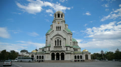 The Alexander Nevsky Cathedral in Sofia, Bulgaria Stock Footage
