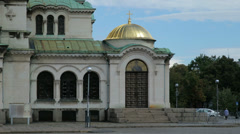The lower side part of the Alexander Nevsky Cathedral in Sofia, Bulgaria Stock Footage