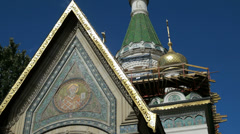 Part of the Russian Church Temple Sveti Nikolay in Sofia, Bulgaria Stock Footage