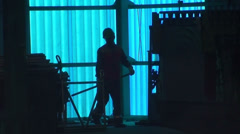 0505 Working with safety equipment Stock Footage