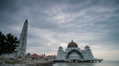 The Straits Mosque Sunrise Time Lapse (4k) Stock Footage