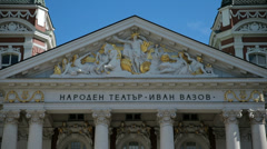 The front facade of the Ivan Vazov National Theatre in Sofia, Bulgaria Stock Footage