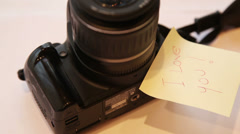 Message on a photo camera close up Stock Footage
