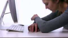 Stress at workplace. Sleepy student. - stock footage