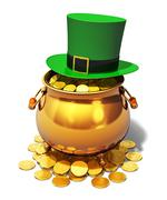 Pot of Gold and green Leprechaun hat - stock illustration