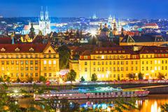Night scenery of Prague, Czech Republic Stock Photos