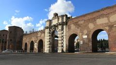 Traffic & wall next to Saint John in Lateran, Rome Stock Footage