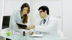 Young Nurse asking Prescription Signature Research Doctors Stock Footage