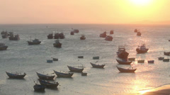 Many Fishing Ships Mui Ne Vietnam Stock Footage