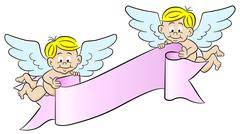 Cupids holding a banner Stock Illustration