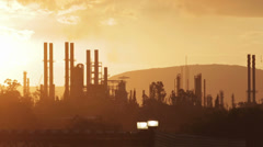 Polluting chimneys of refinery - stock footage