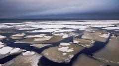 Drifting of Onego lake ice, Petrozavodsk Stock Footage