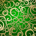 Stock Illustration of Golden abstract pattern on green background.