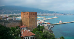 4K video Kizil Kule (Red tower in turkish) - the symbol of alanya Stock Footage
