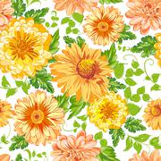 Chrysanthemum Floral Seamless - stock illustration