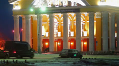 Russian Dramatic Theater in winter evening, Petrozavodsk - stock footage