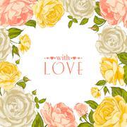 Complimentary rose frame - stock illustration