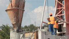 Builders poured concrete in bored piling  machine Stock Footage