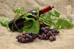 Stock Photo of sweet red grapes with bottle of red wine.
