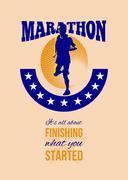 Stock Illustration of marathon runner finishing retro poster.