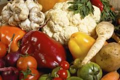 various assorted organic fresh vegetables - stock photo