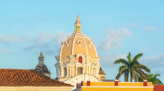 Time Lapse of a Church in Cartagena Stock Footage