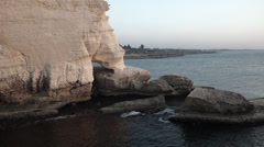 Sunset at Rosh Hanikra grottoes - the Elephant leg Stock Footage