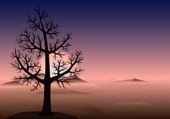 Lonely tree. Vector background. - stock illustration